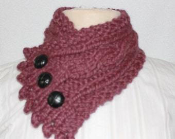 Handmade Cable Knit Cowl, Fishermans Wife Cowl, Neck Warmer, Knitted Cowl, Cable Knit Scarf, Color:  Fig