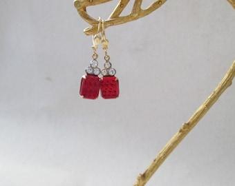 Petite Red Vintage Czech Glass Jewel Earrings