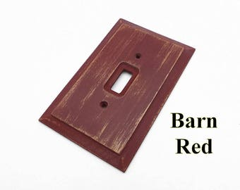 Rustic Switch Plate, Barn Red Wood Light Switchplate, Primitive Switch Plate, Shabby Light Switch Plate, Red Switch Plate,  Outlet Cover