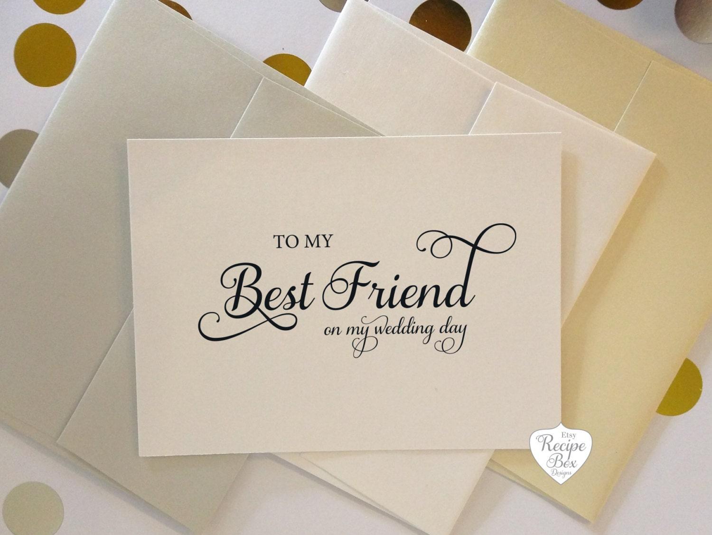 To My Best Friend Bestie On My Wedding Day Wedding Cards Thank