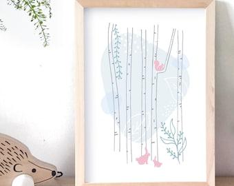 Affiche enfant, illustration, forêt, animaux, lapin, écureuil, déco, chambre bébé, chambre enfant, déco enfant, poster, cadeau