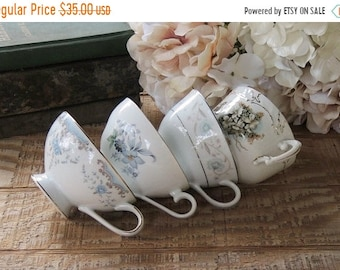 ON SALE Mismatched Cottage Style Tea Cups Set of 4, Shabby Chic, Tea Party Shabby Cottage, Soy Candle Cups, Bridesmaid Gifts