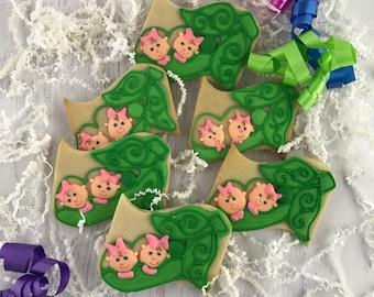 Peas in a Pod Cookies, Twins, Triplets Cookies, Peapod Cookies, Baby, Shower Cookies