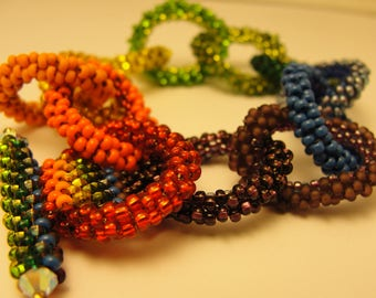 Bead Woven Links Rainbow Bracelet- Perfect Circle