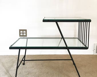 vintage mid century iron glass 2 tier end side table