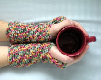 PATTERN: Cotton Candy fingerless gloves,wrist warmers, texting,mitts,mittens,pink,pdf,easy crochet, INSTANT DOWNLOAD, permission to sell
