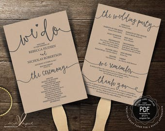 Wedding Program FAN PDF template, instant download editable printable, Ceremony order card in rustic theme, fan (TED406_4F)