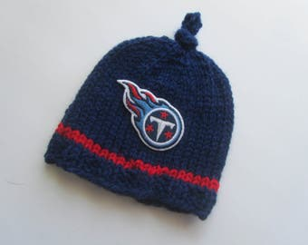 TENNESSEE TITANS, Hand Knit Baby Hat, Football Baby Hat, Baby Hat, Tennesse Baby Hat, Titans Baby,Tennessee  Baby Hat
