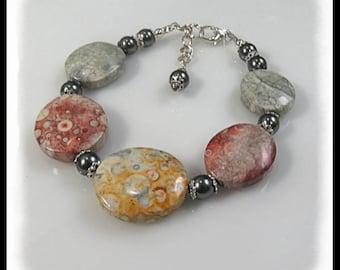 Mexican Sky Eye Jasper gemstone bracelet, gray and gold bracelet, rust and gray jewelry, gemstone bracelet