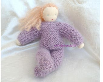 Hand knitted Waldorf doll 12inch handmade of natural materials