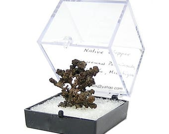 """Copper Cluster Arborescent Thumbnail Mineral Specimen, Natural """"Red Metal"""", Michigan Native Copper in museum display box"""
