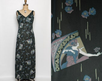 vintage 1970s maxi dress | art nouveau novelty print | long green dress