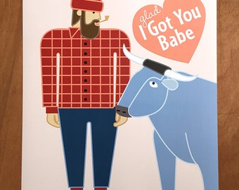 "Paul Bunyan and Babe,Glad I Got You Babe, 18x 24"" poster"