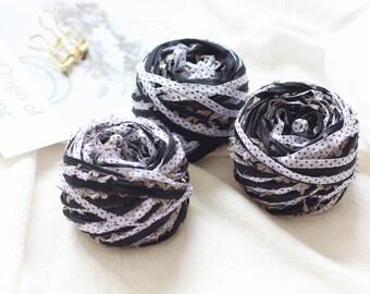 30 Gram Handmade  Mixed Art Yarn For Knitting / Weaving / Crochet / Gift Wrapping /Dream Catcher Making --Black and White