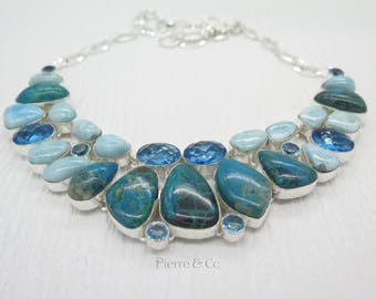 Chrysocolla Larimar Blue Topaz Sterling Silver Necklace
