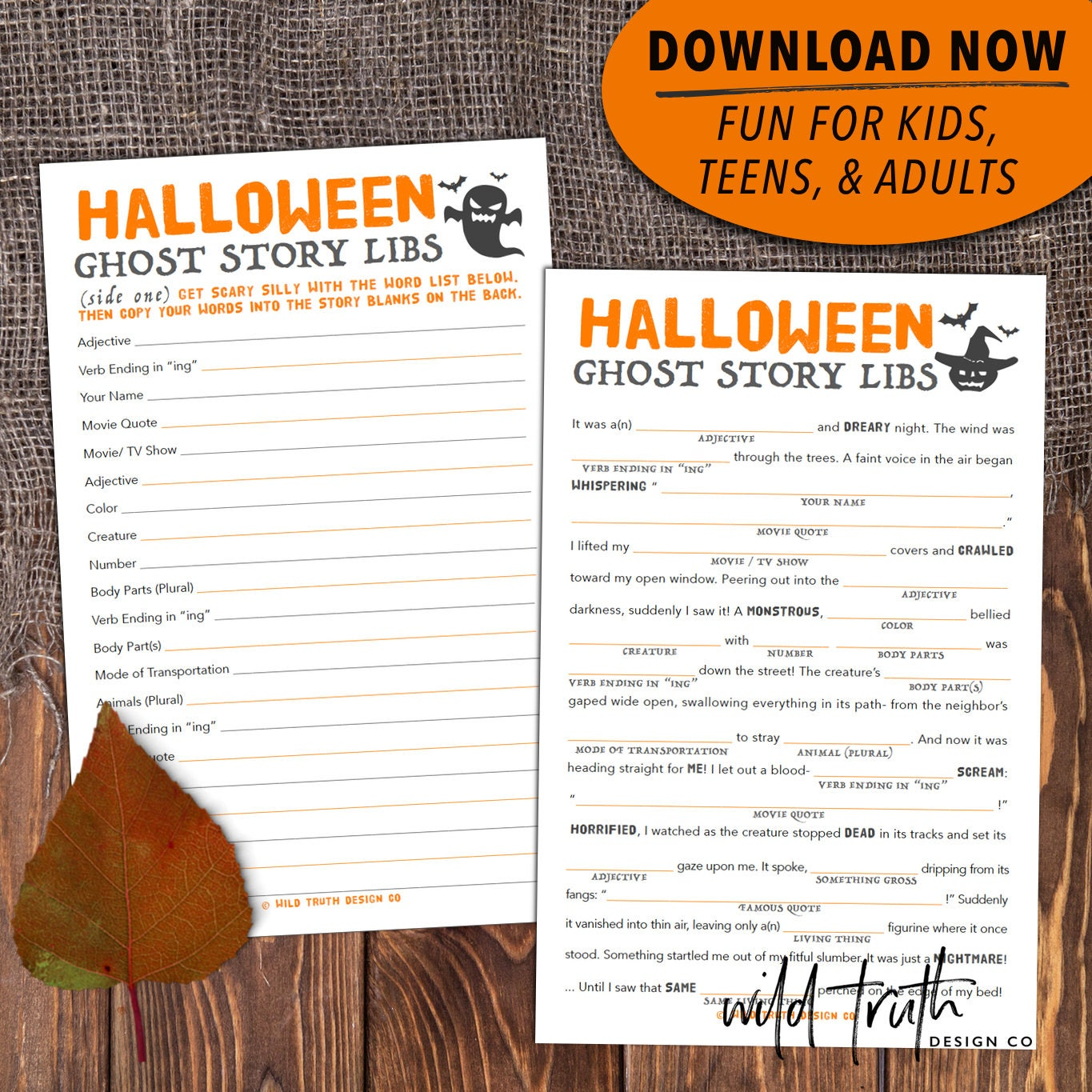Monster image in printable mad libs for teens