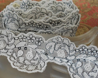 Soft White and Black Floral Trim
