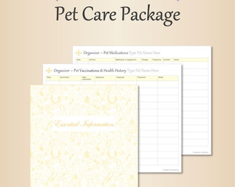 Pet Care Package – Gold, Editable, Fillable, Pet Medical Info, Vaccination Log, Animal Healthcare, Nutritional Supplements PDF Printables