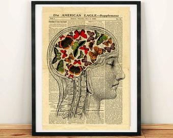 Ein menschlicher Kopf Gehirn-Anatomie Wissenschaft Vintage druckbare Collage alte Zeitung A3 Wand Kunstdruck 11 x 16 Inneneinrichtungen - DIGITALER DOWNLOAD HQ300dpi