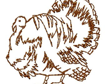 Turkey Outline Machine Embroidery Design - Instant Download
