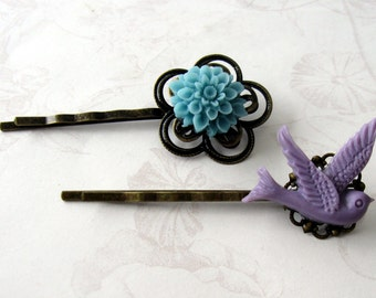 blue flower hairpin, blue flower bobbypin, purple bird, bird hairpin, purple hairpin, flower bobbypin, hairpin set, blue bobby pin, under 10