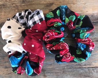 Rose Dots Scrunchie Set Hair Tie Set