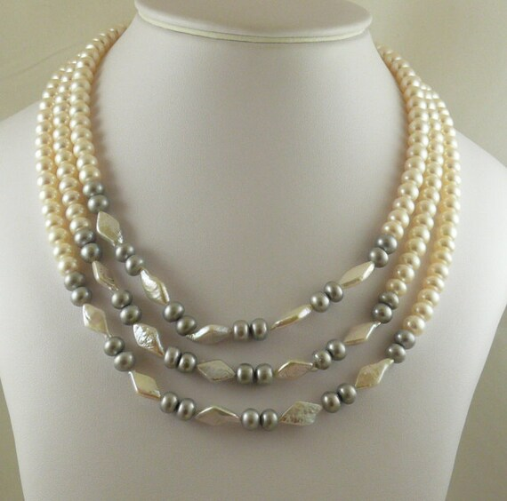 Freshwater White & Gray Pearl Triple Strand Necklace with Silver Clasp 18 1/2