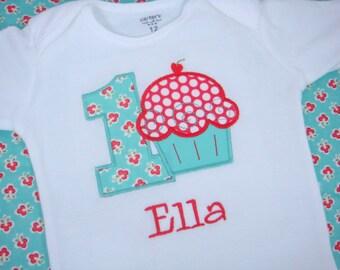 Cupcake Birthday Shirt - Cupcake Girls Birthday Shirt - Toddler Birthday Shirt - First Birthday Cupcake Shirt