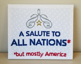 A Salute to All Nations - But Mostly America Cross-Stitch Pattern PDF  - Instant Download