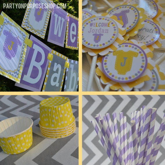 Wonderful Baby Shower Party Decorations Purple Yellow Gray Fully CF02