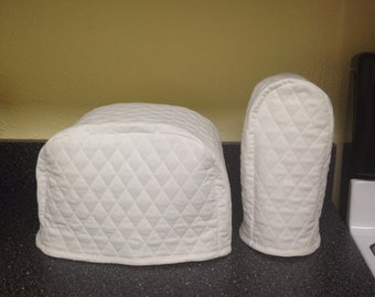 White 2 Slice Toaster and Can Opener Cover Set Kitchen Small Appliance Covers Ready to Ship