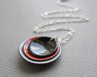 Modern Black Red Gray Enamel Minimalist Necklace Sterling Silver