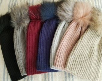 Knitted Beanie Hat with Real Fur PomPom