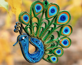 Peacock Paper Quilling Ornament in a gift box , Peacock home decor bird lover gift, Wedding, Mothers Day Keepsake, Christmas Ornament, Thank