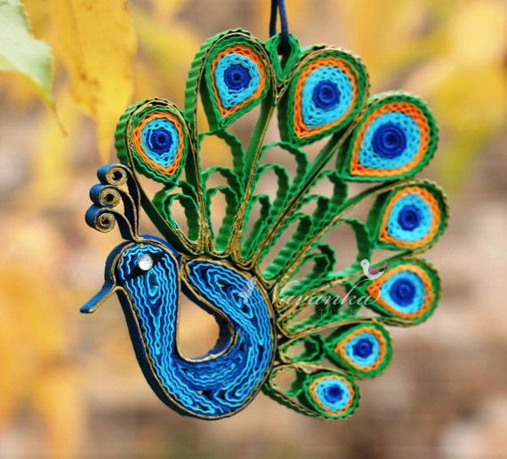 Peacock Paper Quilling Ornament In A Gift Box Peacock Home