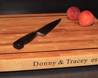 "Personalized End Grain Maple Chopping Block with Walnut accent, 21"" by 14"" by 2"" thick"