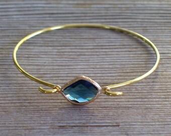 Gold Bangle Bracelet, Dark Blue Glass Bracelet, Blue Gold Bracelet, Minimalist Bangle, Layering Bracelet, Stackable Bracelet, Gift for Her