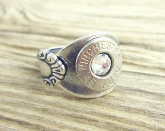 Bullet Ring, Antiqued Silver Plated Spoon Bullet Ring WIN-#-N-SPR, Silver Ring, Silver Bullet Ring, Antique, Winchester Ring, Adjustable