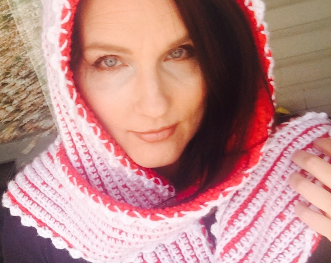Crocheted Hooded Scarf-Winter Wrap-Womens Scarves-Red and White Hoodie-Christmas Hats-READY  TO SHIP