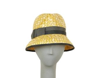 Yellow Straw Hat for Women, Summer Hat, Womens Fedora Hat, Straw Fedora, Ladies Hat, Derby Hat, Sun Hat, Yellow Hat, Ladies Fedora