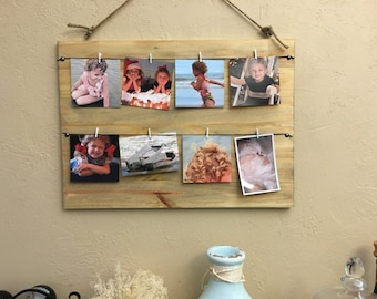 Picture Display, Solid Wood, Jute Rope and Clothes Pins, Rustic Decor, Photo Picture Frame, Framed Jute Twine Rope Picture Clips
