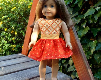 """Doll Dress - American Girl or Similar 18"""" Doll - Pizza Party (#140)"""