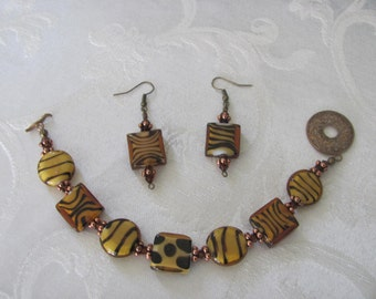 glass animal print bracelet and earrings