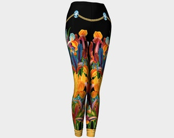 Funky Vintage Irises with Chain and Jewels Black Leggings - Yoga Leggings - Fashionable - Active Wear