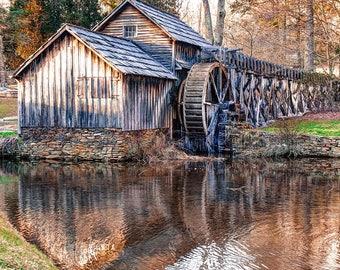 Mabry Mill Reflections - Virginia Blue Ridge Parkway - Square Art Format - Wall Art - Home Decor