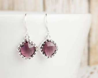 Amethyst Silver Earrings, February Birthstone Diamond Earrings, February Birthstone Earrings, Purple Silver Earrings, February Birthday Gift