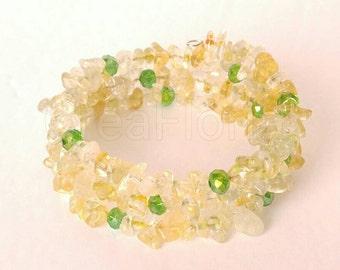Citrine Quartz Gemstone Bracelet Protect Clean Energize Aura Success Energy Wealth Lucky Handmade Jewelry Three Row Strand Cuff Memory wire