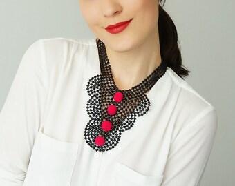 Venise Lace Necklace Lace Jewelry Black Necklace Bib Necklace Statement Necklace Pompom Necklace/ CINCINELLA