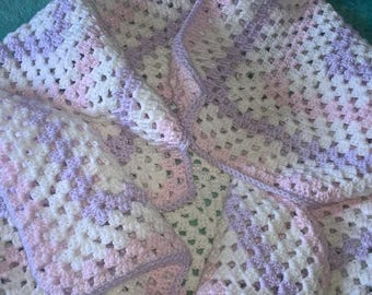 "Handmade ""Fairytale"" Baby Blanket in white/pink/lilac sparkle yarn"