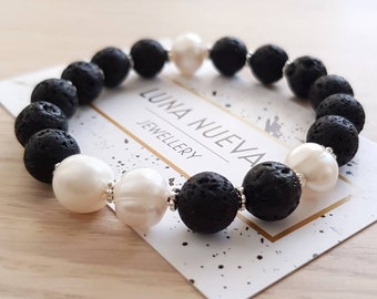 Freshwater Pearl and Lava stone Bracelet